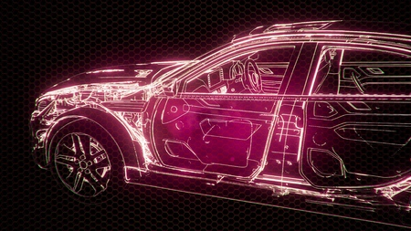 Photo pour Holographic animation of 3D wireframe car model with engine and otter technical parts - image libre de droit