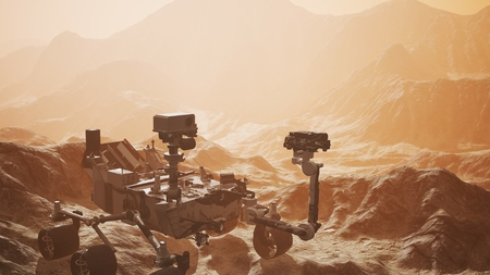 Photo for Curiosity Mars exploring the surface of red planet - Royalty Free Image