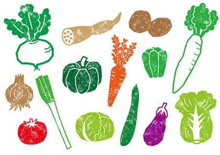 Ilustración de Seal-style vegetable set - Imagen libre de derechos