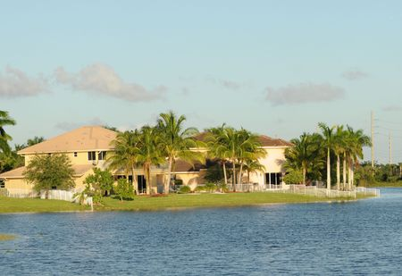 Waterfront real estate in tropical Florida