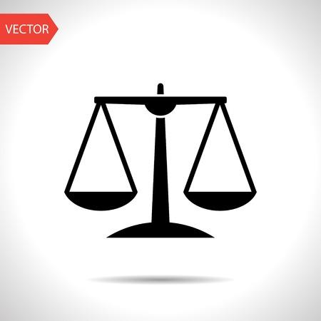 Illustration pour Black Justice scale icon on white background - image libre de droit
