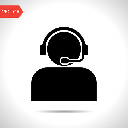 Illustration pour Customer support operator with headset icon - image libre de droit