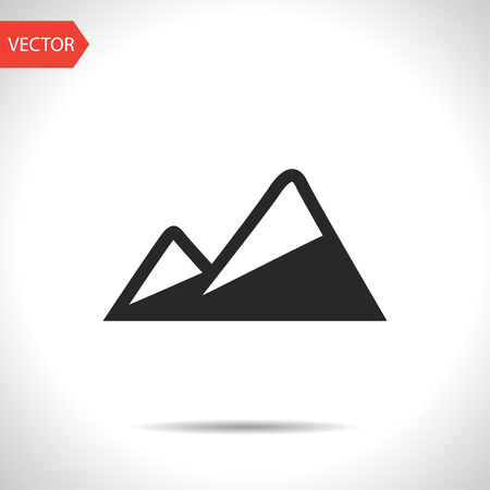 Illustration pour Peaks covered with snow illustration. Mountains vector icon - image libre de droit