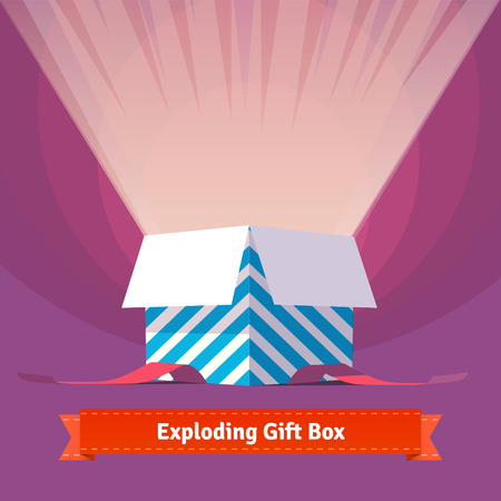 Illustration pour Exploding celebration gift box. Simple to work with and customization isolated illustration elements.  - image libre de droit