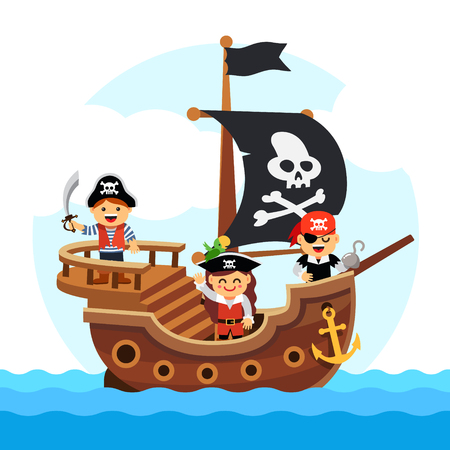 Illustration pour Kids pirate ship sailing in the sea with black flag and sail decorated with scull and cross bones. Flat style vector cartoon illustration isolated on white background. - image libre de droit