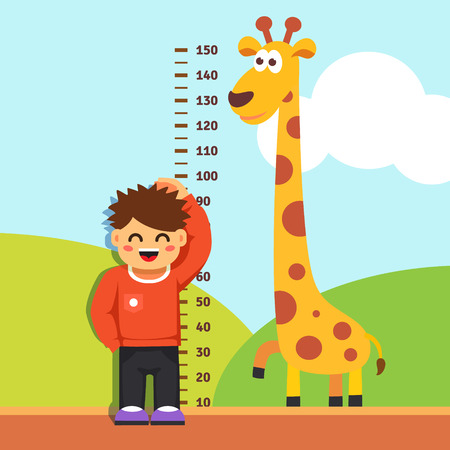 Illustration pour Boy kid is measuring his height with painted graduations on the kindergarten wall. Vector flat style isolated cartoon illustration. - image libre de droit