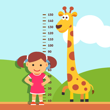Illustration pour Girl is measuring her height with painted graduations on the kindergarten wall. Vector flat style isolated cartoon illustration. - image libre de droit