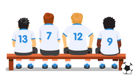 Ilustración de Football soccer sport team sitting on a bench. Flat style vector cartoon illustration isolated on white background. - Imagen libre de derechos