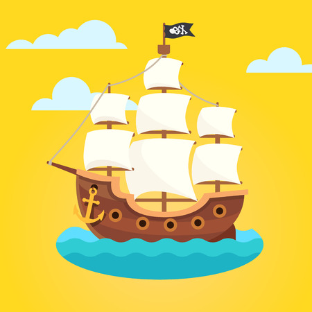 Illustration pour Pirate ship with white sails and black scull and crossed bones flag. Flat style vector icon. - image libre de droit