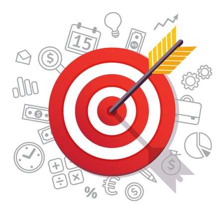 Illustration pour Arrow hits target center. Dartboard arrow and icons. Business achievement and success concept. Straight to the aim symbol. Flat style vector illustration isolated on white background. - image libre de droit