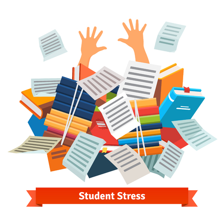 Illustrazione per Student stress. Studying pupil buried under a pile of books, textbooks and papers. Flat style vector illustration isolated on white background. - Immagini Royalty Free