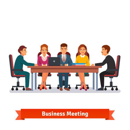 Ilustración de Directors board business meeting. People in chairs at the big desk talking, brainstorming or negotiating. Flat style vector illustration isolated on white background. - Imagen libre de derechos