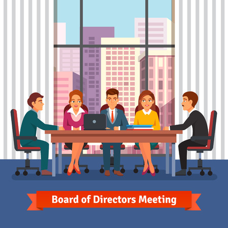 Illustration pour Directors board business meeting in a big conference room with big window on the top floor of skyscraper. People in chairs at the desk talking, brainstorming and negotiating. Flat vector illustration. - image libre de droit