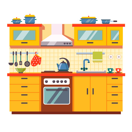 Illustration pour Kitchen wall interior. Flat style vector illustration isolated on white background. - image libre de droit