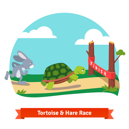 Ilustración de The Tortoise and the Hare. Turtle and rabbit racing together to win. Finish line red ribbon. Flat style vector illustration isolated on white background. - Imagen libre de derechos
