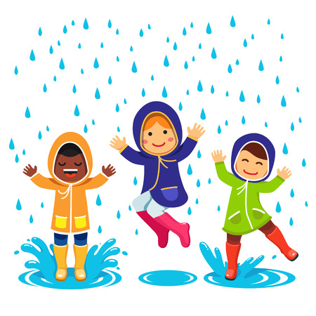 Illustration pour Kids in raincoats and rubber boots playing in the rain. Children jumping and splashing through the puddles. Flat style vector cartoon illustration isolated on white background. - image libre de droit