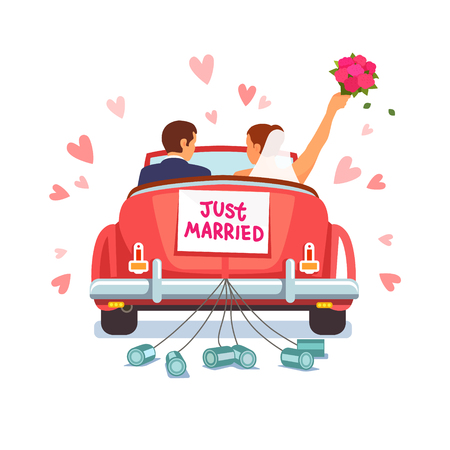 Photo pour Newlywed couple is driving a vintage convertible car for their honeymoon with just married sign and cans attached. Flat style vector illustration isolated on white background. - image libre de droit