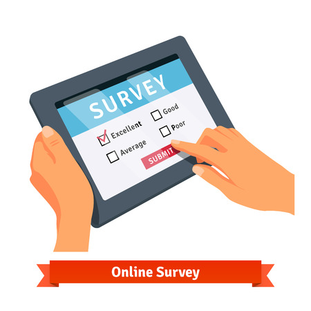 Illustration pour Online survey on a tablet. Flat style vector illustration isolated on white background. - image libre de droit