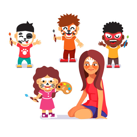 Illustration pour Face painting party. Kids with brushes playing with teacher and drawing characters. Paint no more. Flat style cartoon vector illustration isolated on white background. - image libre de droit