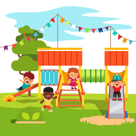 Illustration for Kindergarten outdoor park playground slide with playing kids. Flat style cartoon vector illustration with isolated objects. - Royalty Free Image