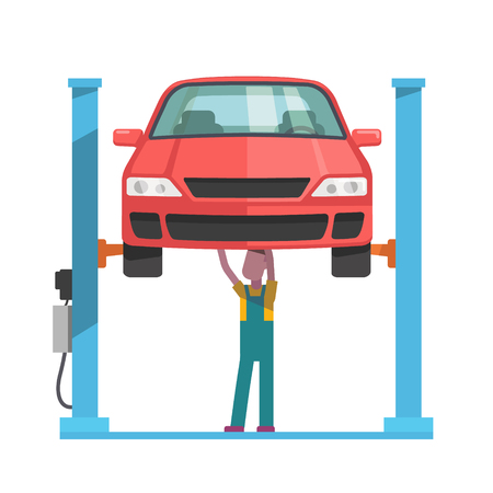 Ilustración de Mechanic standing under underbody and repairing a car lifted on auto hoist. Front view. Flat style vector illustration isolated on white background. - Imagen libre de derechos