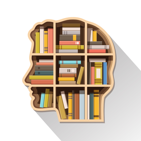 Ilustración de Education, learning and knowledge concept. Human head shaped shelf full of books. Flat style vector illustration isolated on white background. - Imagen libre de derechos