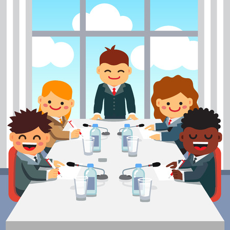 Illustration pour CEO standing at the head of big table and giving a speech to a business executive team at the high floor room office of skyscraper. Kids directors board meeting. Flat style vector illustration. - image libre de droit