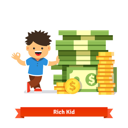 Illustration pour Boy kid standing and leaning to a huge pile of money. Stacked dollar bills and coins. Children savings and finance concept. Flat style cartoon vector illustration isolated on white background. - image libre de droit