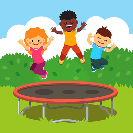 Illustrazione per Three excited and smiling kids jumping on trampoline in a courtyard. Children having fun at a happy summertime vacation. Flat style cartoon vector illustration. - Immagini Royalty Free