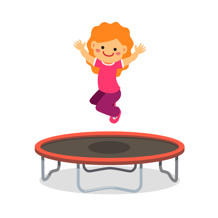 Illustration for Happy girl jumping on trampoline. Flat style cartoon vector illustration isolated on white background. - Royalty Free Image