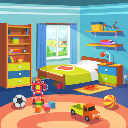 Illustration pour Boy room with big window suffused with light. With bed, cupboard, shelves, and toys on the floor. Flat style cartoon vector illustration. - image libre de droit