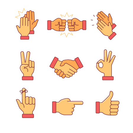 Illustration pour Clapping hands and other gestures. Thin line icons set. Flat style color vector symbols isolated on white. - image libre de droit