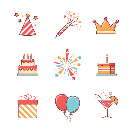Illustration pour Birthday icons thin line set. Celebration event, cake and fireworks. Flat style color vector symbols isolated on white. - image libre de droit