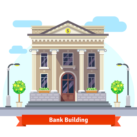 Photo for Facade of a bank building with columns. Flat style vector illustration isolated on white background. - Royalty Free Image