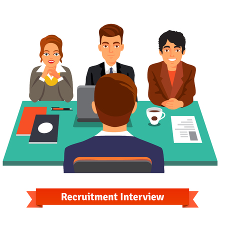 Illustration pour Man having a job Interview with HR specialists and a boss. Flat style vector illustration isolated on white background. - image libre de droit