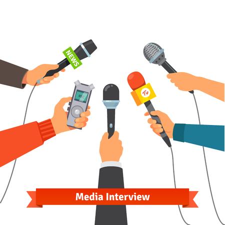 Illustration pour Microphones and voice recorder in hands of reporters on press conference or interview. Journalism concept. Flat style vector illustration isolated on white background. - image libre de droit