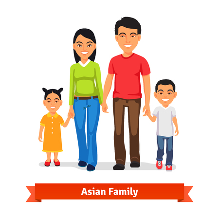 Foto de Asian family walking together and holding hands. Flat style vector illustration isolated on white background. - Imagen libre de derechos