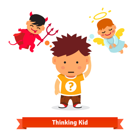 Illustration pour Thinking kid making tough choice between good and evil. Angel and devil advising him. Flat style vector illustration isolated on white background. - image libre de droit