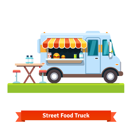 Illustrazione per Opened street food truck with free table. Flat vector illustration isolated on white background. - Immagini Royalty Free