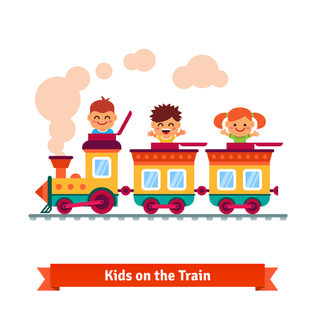 Illustration pour Kids, boys and girls riding on a cartoon train. Flat style vector illustration. - image libre de droit