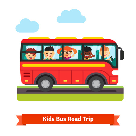 Illustration pour Happy smiling kids boys and girls travelling on the red bus. Road trip concept. Flat vector cartoon background illustration. - image libre de droit