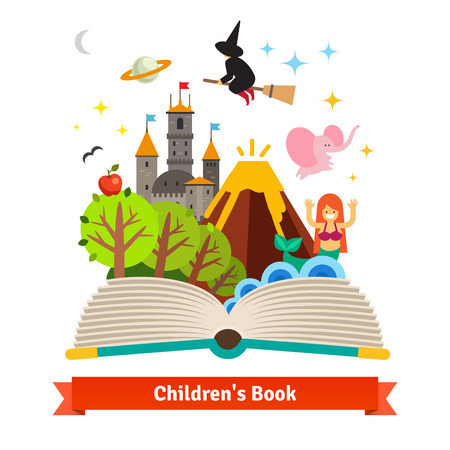 Illustration pour Imagination coming to life in a children fairy tail fantasy book. Flat style vector concept cartoon illustration. - image libre de droit