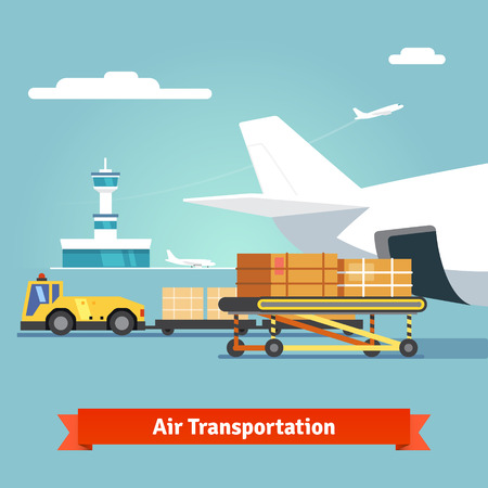 Ilustración de Loading boxes to a preparing to flight aircraft with platform of air freight. Air cargo transportation concept. Flat style illustration. - Imagen libre de derechos
