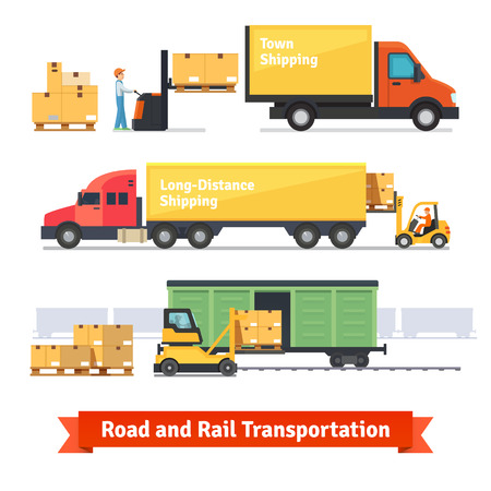Photo pour Cargo transportation by road and train. Workers loading and unloading trucks and rail car with forklifts. Flat style icons and illustration. - image libre de droit