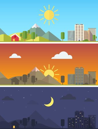 Illustration pour City and rural scenic landscape in different times of day. Flat style vector vector. - image libre de droit