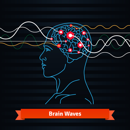 Illustration pour Brain waves. Electrodes connected to a man head. Mind power concept. Flat vector thin line icon. - image libre de droit