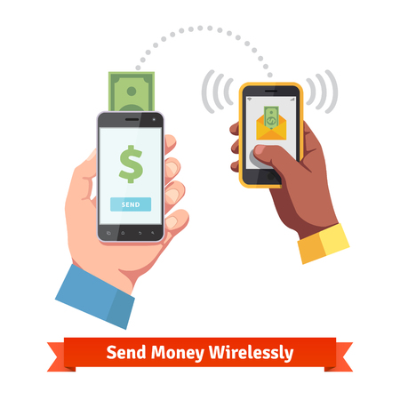 Illustration pour People sending and receiving money wirelessly with their mobile phones. - image libre de droit