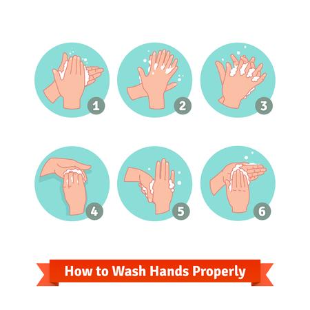 Illustration pour Hands washing medical instructions. Soap and bubbles.  - image libre de droit
