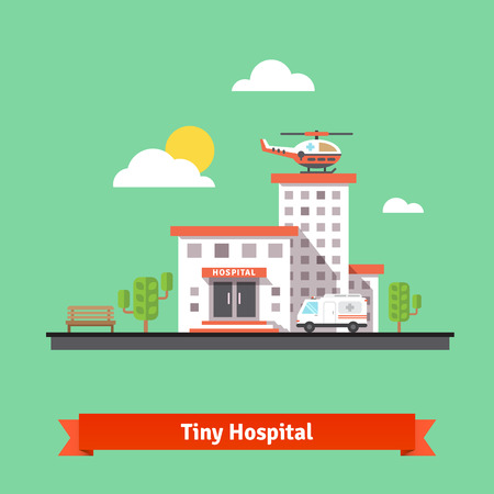 Illustration pour Hospital flat vector illustration. Clinic building with ambulance helicopter and car. - image libre de droit