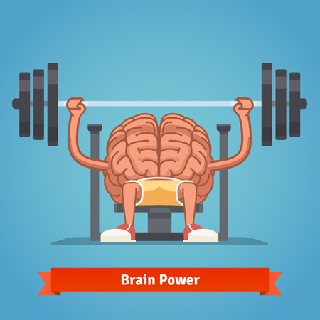 Illustration pour Athletic and fit brain pumping up mind muscles on bench press. Training powerful and smart mentality. Flat vector concept illustration. - image libre de droit